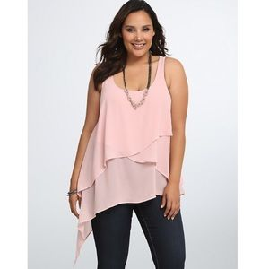 Asymmetrical tiered pink top